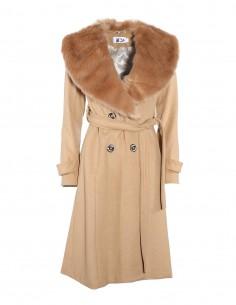 Palton din lana cu guler de blana detasabil