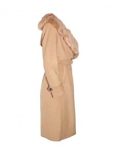 Palton din lana cu guler de blana detasabil latelal 1