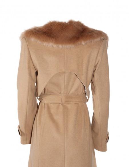 Palton din lana cu guler de blana detasabil spate 1