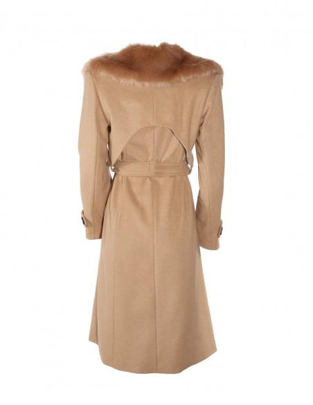 Palton din lana cu guler de blana detasabil spate 2