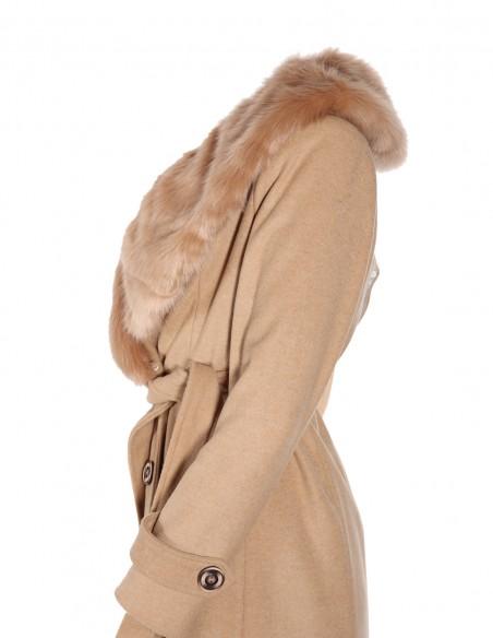 Palton din lana cu guler de blana detasabil lateral 2