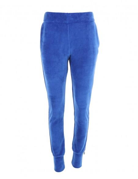 Ashley - Pantaloni de catifea tip jogger slim fit - byEDA - Albastru