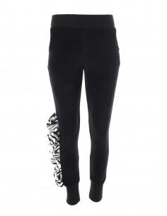 Miranda - Pantaloni de catifea tip jogger cu volan imprimat - byEDA - Negru cu zebra