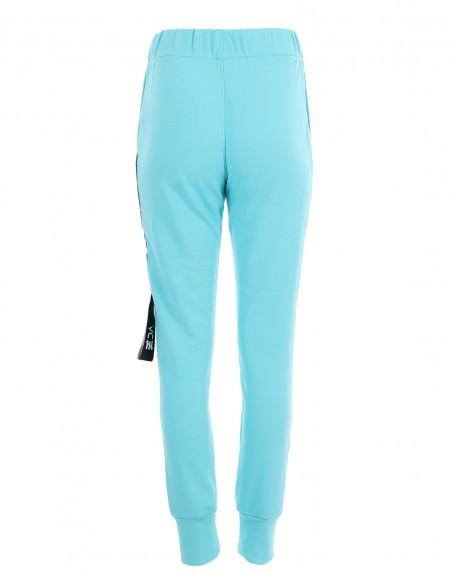 Dakota - Pantaloni din bumbac medium fit - byEDA - Turcoaz