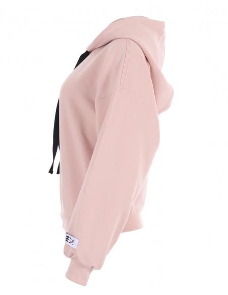 Dakota - Hanorac cu gluga din bumbac - byEDA - Roz pudrat