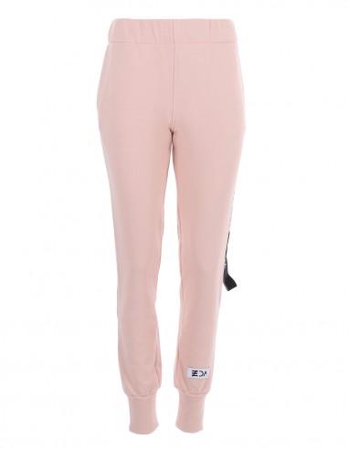 Dakota - Pantaloni din bumbac medium fit - byEDA - Roz pudrat