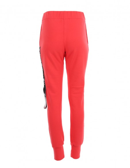 Dakota - Pantaloni din bumbac medium fit - byEDA - Rosu corai