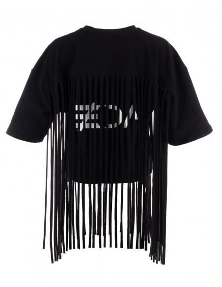 Tricou cu franjuri - Negru - byEDA