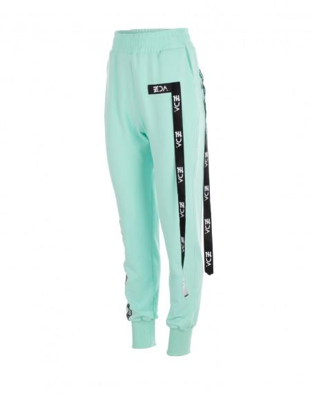 Pantaloni cu aplicatii decorative - Menta - byEDA