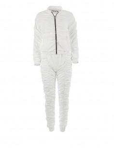Set bluza + pantaloni cu fronseuri - byEDA - Off-white