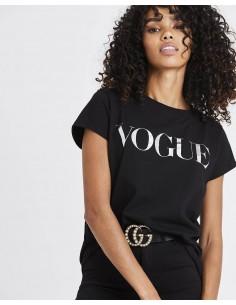 Tricou bumbac organic, Vogue Metalic Silver negru