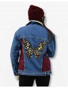 Jacheta Denim, Butterfly Effect, cu blana Sherpa