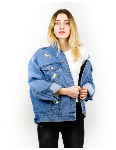 Jacheta Denim oversized, Pop-Art