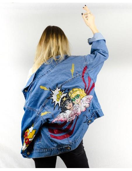 Jacheta Denim oversized, Pop-Art