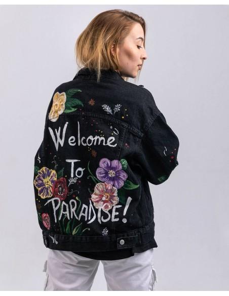 Jacheta Denim oversized, Welcome to Paradise