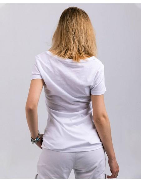 Tricou alb femei bumbac organic logo ByEDA posterior