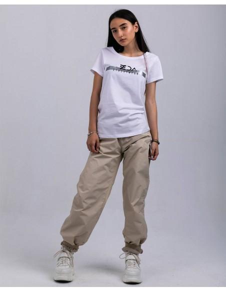 Tricou alb femei bumbac organic ByEDA Streetwear frontal