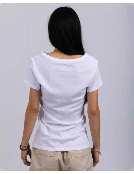 Tricou alb femei bumbac organic ByEDA Streetwear posterior