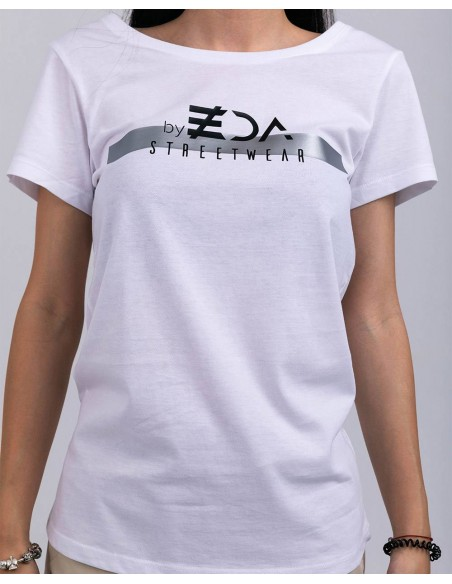 Tricou alb femei bumbac organic ByEDA Streetwear detaliu