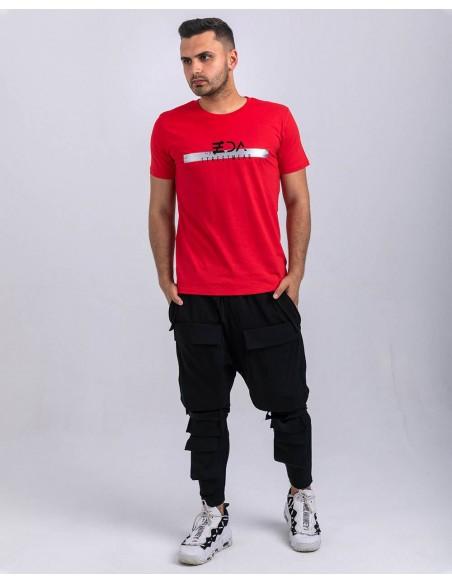 Tricou unisex bumbac organic ByEDA Streetwear rosu baiat frontal