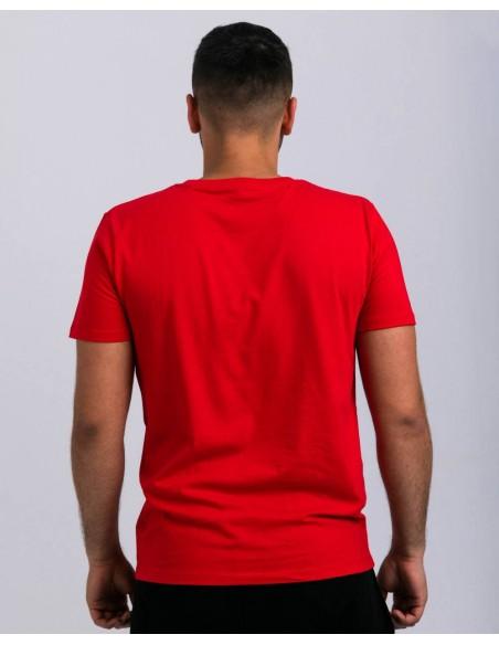 Tricou unisex bumbac organic ByEDA Streetwear rosu baiat posterior