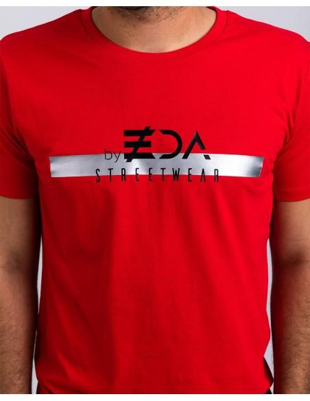 Tricou unisex bumbac organic ByEDA Streetwear rosu detaliu