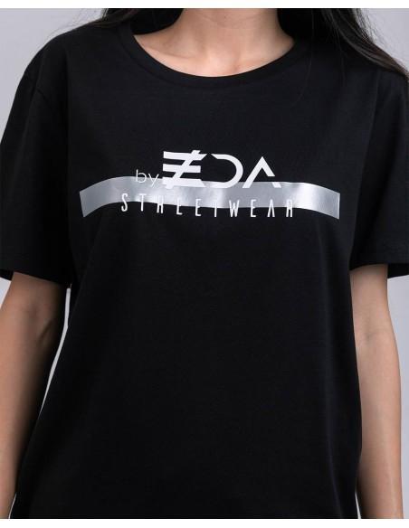 Tricou unisex bumbac organic ByEDA Streetwear negru detaliu