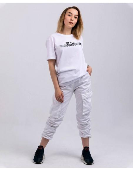 Tricou unisex bumbac organic ByEDA Streetwear alb fata frontal