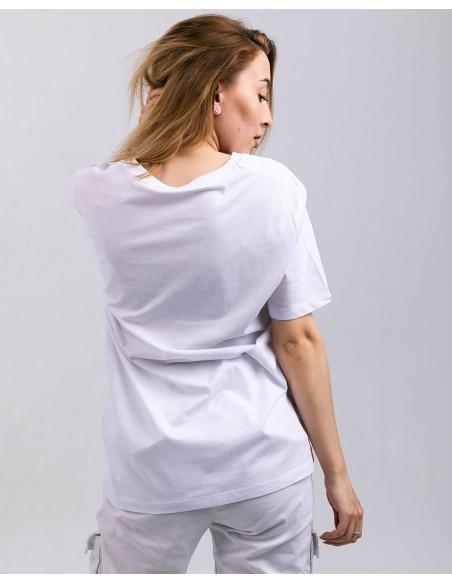 Tricou unisex bumbac organic ByEDA Streetwear alb fata posterior