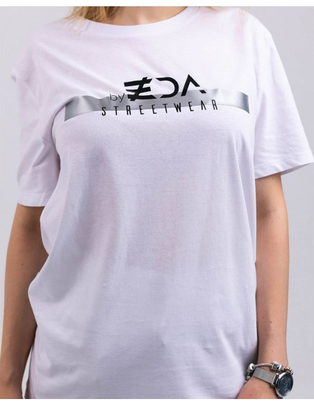 Tricou unisex bumbac organic ByEDA Streetwear alb detaliu