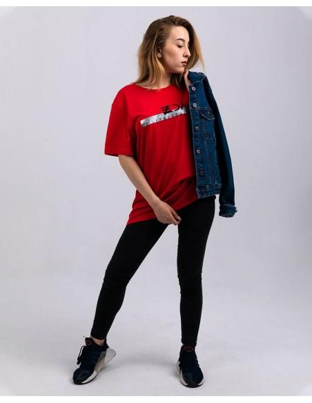 Tricou unisex bumbac organic ByEDA Streetwear rosu fata frontal