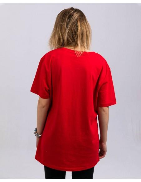 Tricou unisex bumbac organic ByEDA Streetwear rosu fata posterior