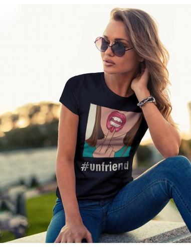 Tricou femei bumbac organic Unfriend negru