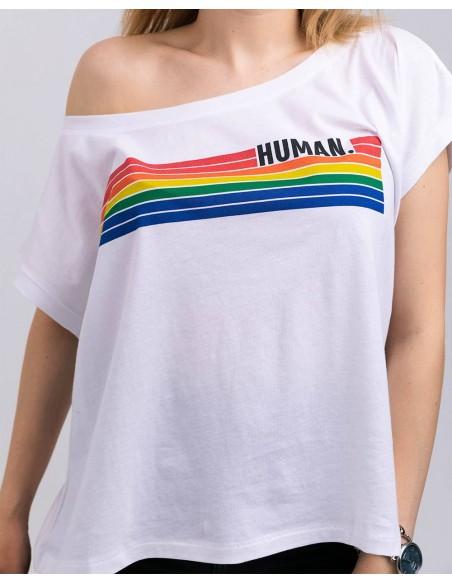 Tricou femei oversized bumbac organic Human detaliu