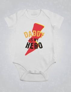Daddy is my superhero - Body pentru bebelusi si copii - bumbac organic - Alb