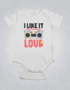 I like it loud - Body pentru bebelusi si copii - bumbac organic - Alb