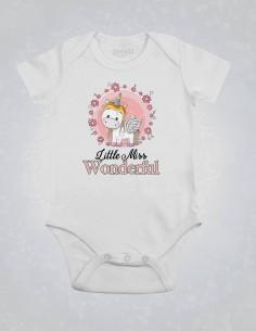 Little Miss Wonderful - Body pentru bebelusi si copii - bumbac organic - Alb