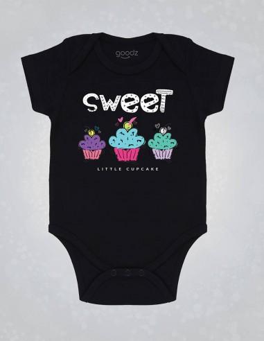 Sweet cupcake - Body pentru bebelusi si copii - bumbac organic - Negru