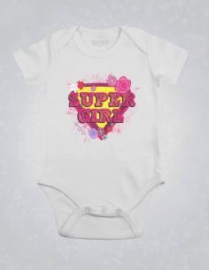 Supergirl - Body pentru bebelusi si copii - bumbac organic - Alb