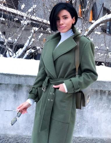 Palton cu cordon si buzunare aplicate