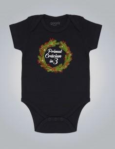 Primul Craciun - Body pentru bebelusi si copii - bumbac organic - Negru