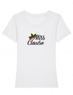 Miss Clause - Tricou alb din bumbac organic pentru femei