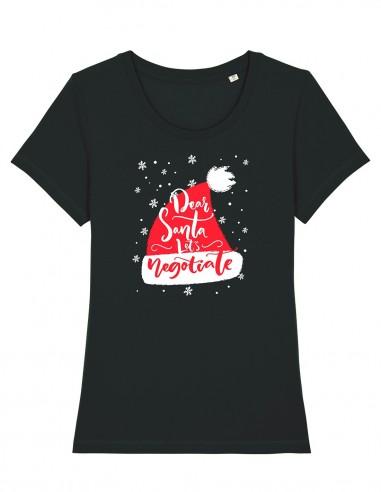Let's Negociate - Tricou negru din bumbac organic pentru femei