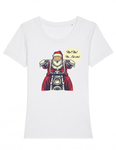 Ho Ho Ho - Tricou alb din bumbac organic pentru femei
