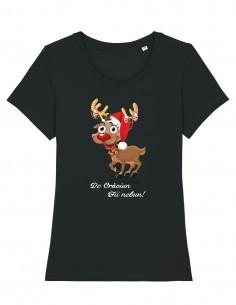 De craciun fii nebun - Tricou negru din bumbac organic pentru femei