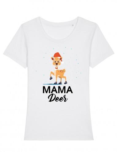 Mama Deer - Tricou alb din bumbac organic pentru femei