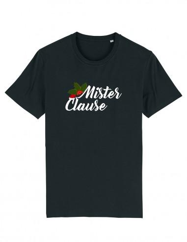 Mister Clause - Tricou negru unisex din bumbac organic