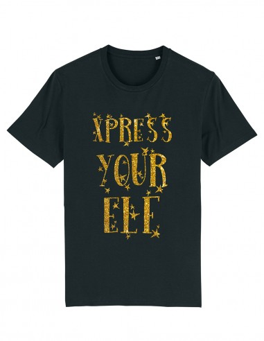 Express your elf - Tricou negru unisex din bumbac organic