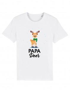 Papa Deer - Tricou alb unisex din bumbac organic