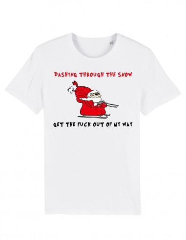 Santa through the snow - Tricou alb unisex din bumbac organic frontal